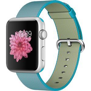 Apple Watch Sport 42mm Silver Aluminum Case With Scuba Blue Woven Nylon Band Smartwatch